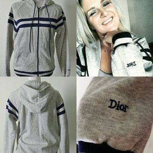 Christian Dior Striped Hooded Gray Track Jacket